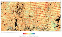 Image of forest and lake region colour-coded with Day of Year of Full Leaf-Out (Preliminary Results)