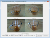Screenshot showing images of teacup acquired from four cameras