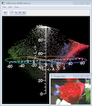 Screen snapshot showing pixels from rose image in Lab colour space